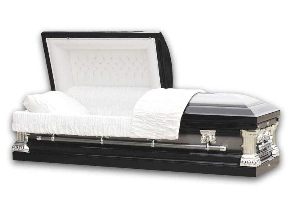 Photo of Knight Black- Casket in Black and Silver Finish with White Interior