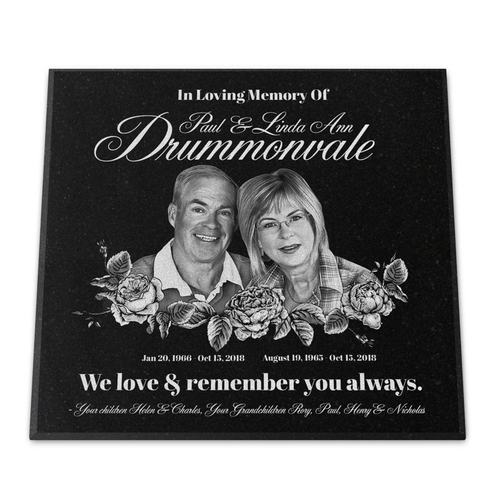"Photo of 12x12x¾"" Granite Grave Marker, Temporary or Permanent, Personalized"