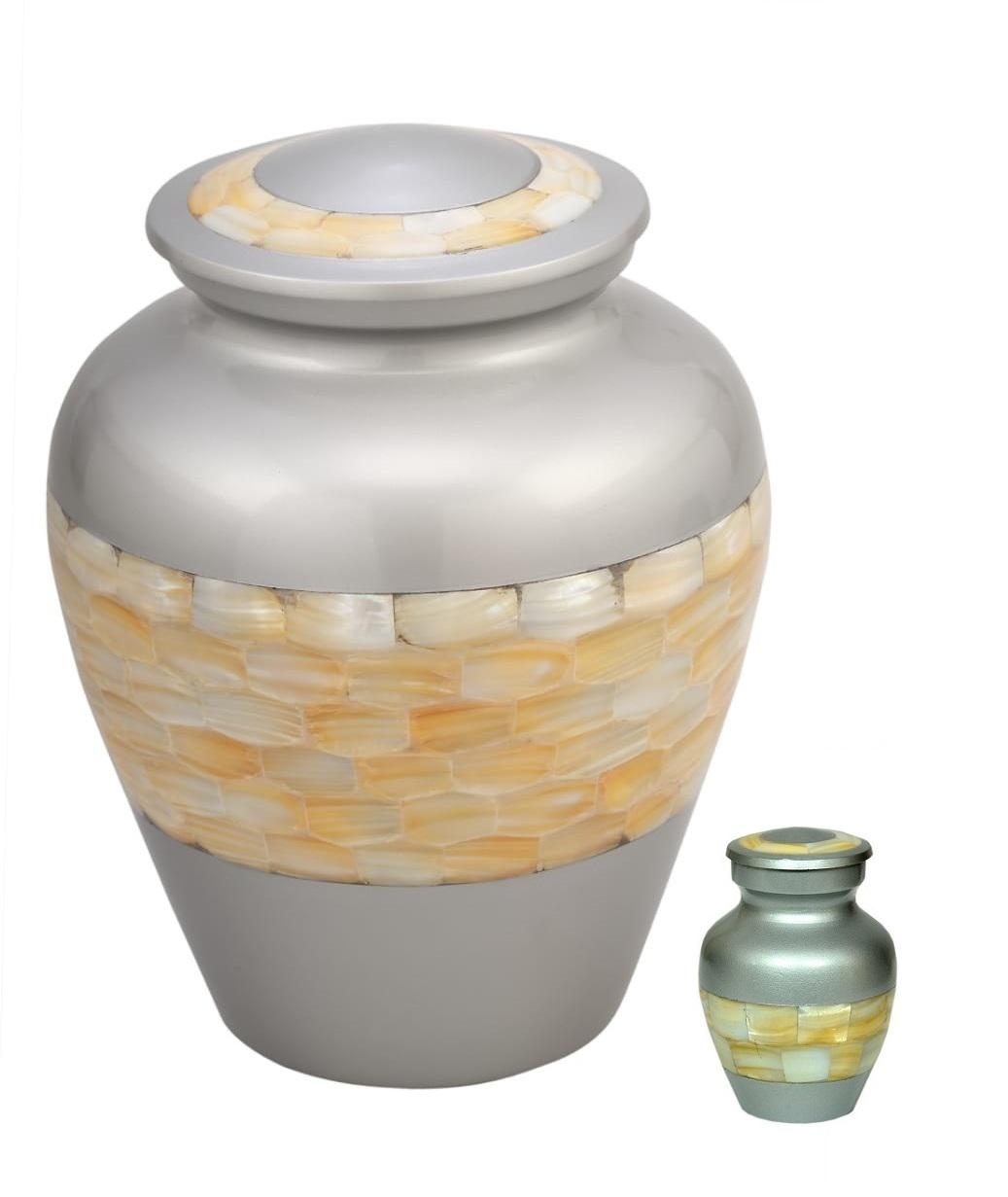 Photo of Mother of Pearl Aluminum Cremation Urn (with free Keepsake)
