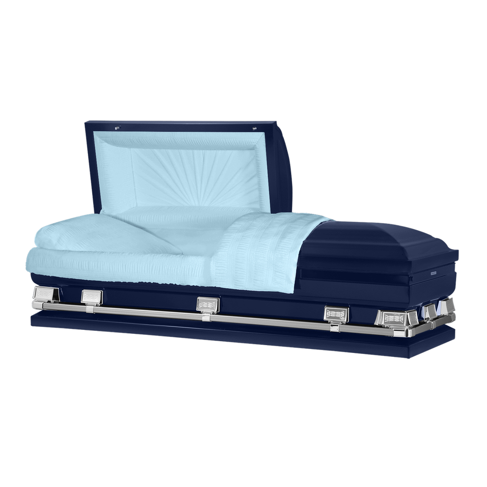 "Photo of Titan Atlas XL | Dark Blue Steel Oversize Casket with Light Blue Interior | 28"", 29"", 33"", 36"""