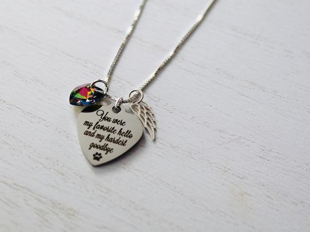 Photo of Rainbow Bridge Pet Loss Necklace Favorite Hello