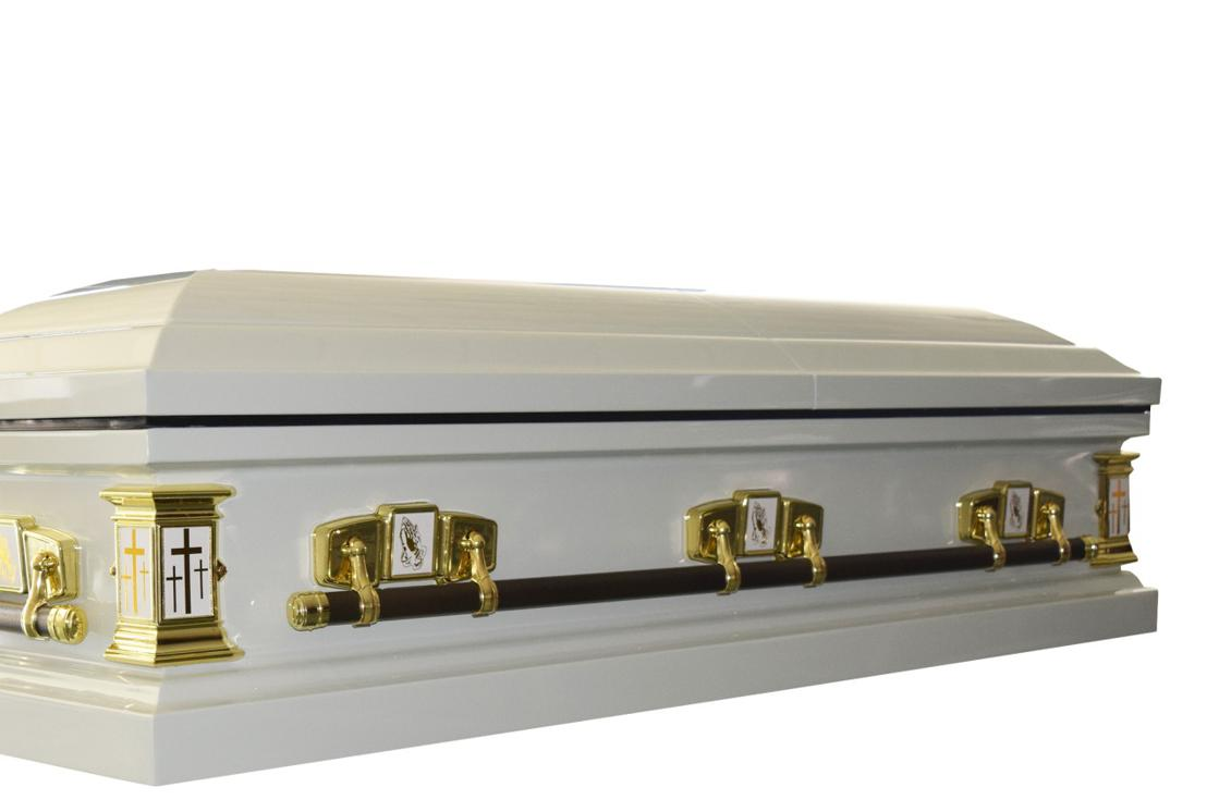 Photo of White Cross - Metal Casket in White Finish with White Interior