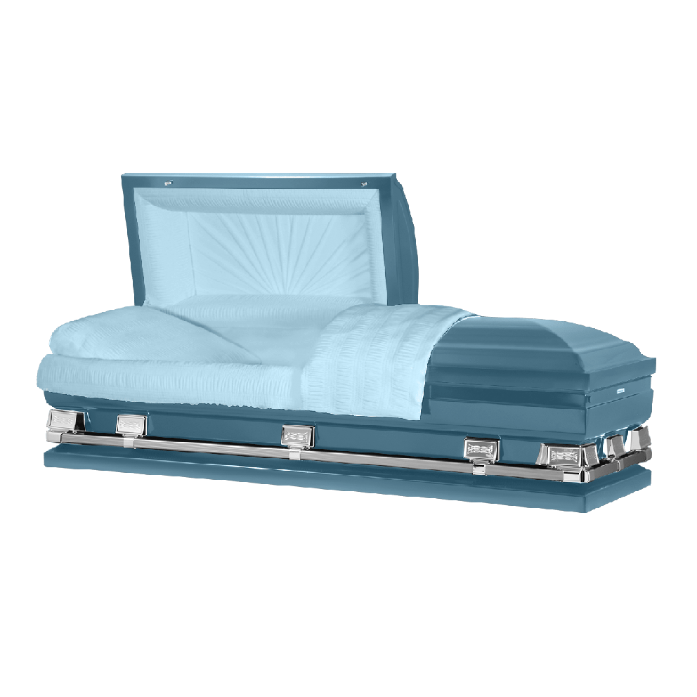 "Photo of Titan Atlas XL | Light Blue Steel Oversize Casket with Light Blue Interior | 28"", 29"", 33"", 36"""