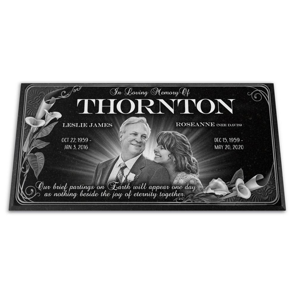 "Photo of Headstone 24x12x¾"", Companion Flat Grave Marker, Personalized"