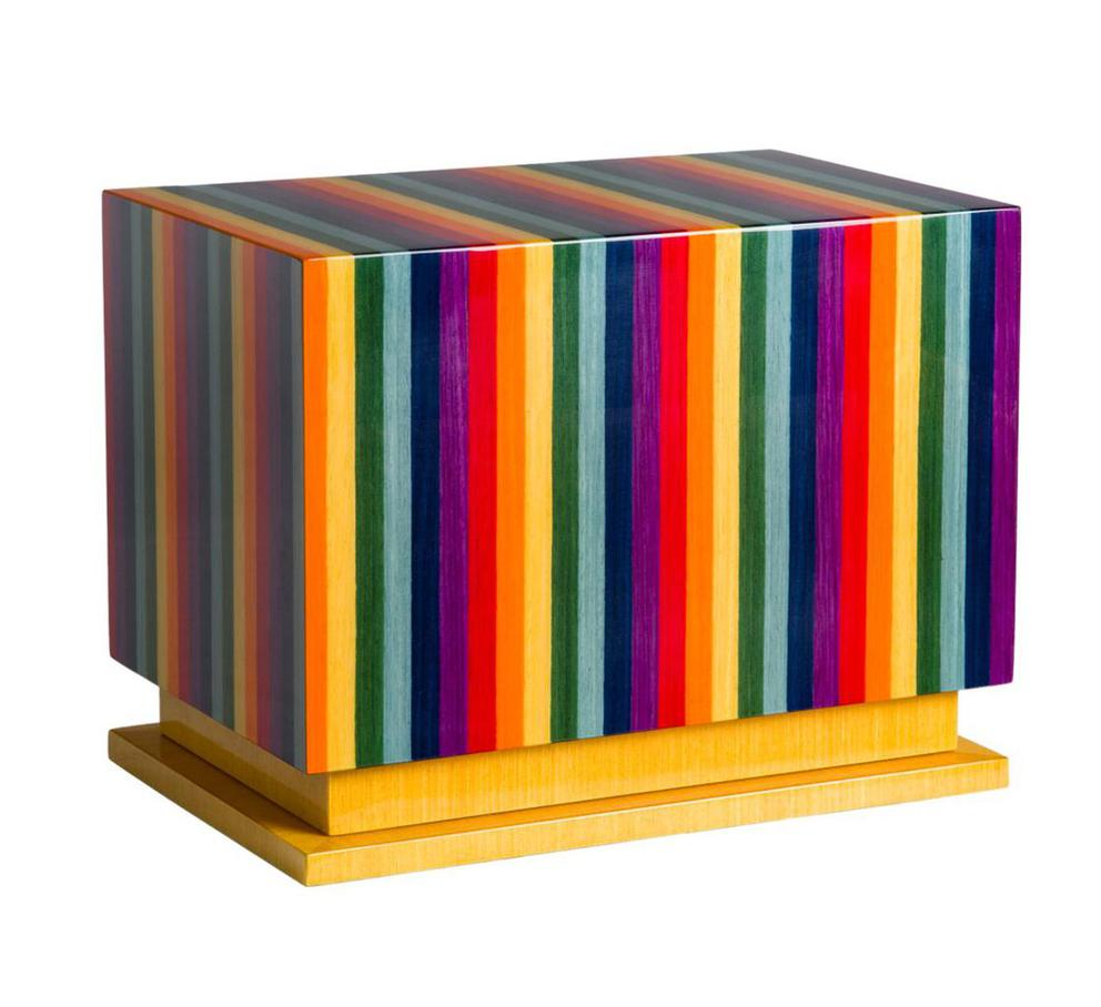 Photo of Modern Wood Urn; Large Urn for Ashes; Multicolor Lacquered Wood Urn; 260 Cubic Inches