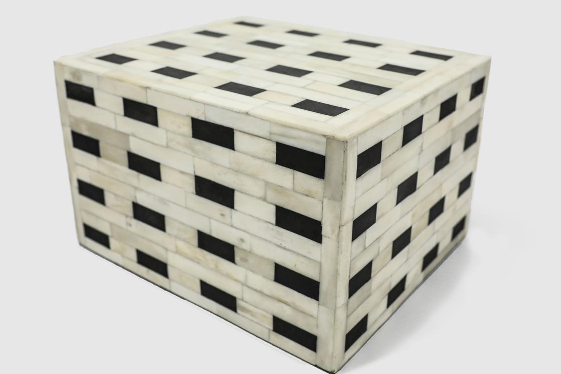 "Photo of ""Checkered"" White and Black Bone Inlay Cremation Urn"