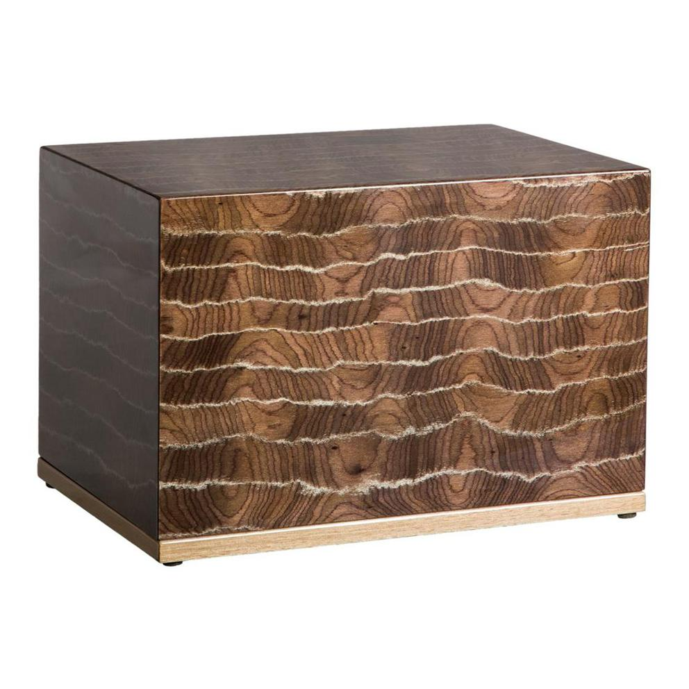 Photo of Modern Wood Urn (Small & Large); Urn for Ashes; Striped Brown Lacquered Wood Urn