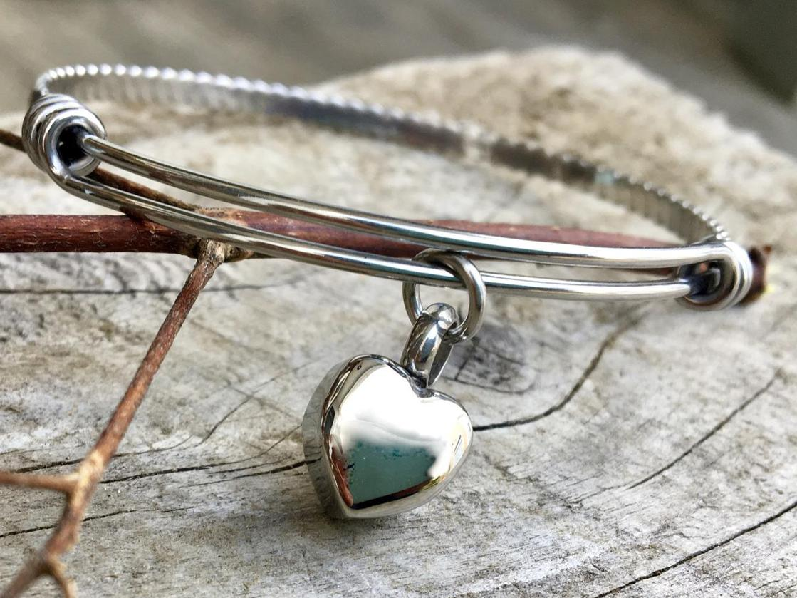 Photo of Cremation Urn Memorial Bangle in Silver