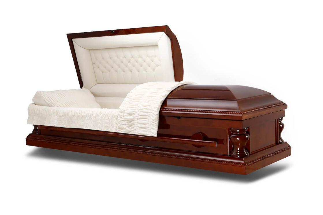 Photo of Peace Lite - Wooden Casket with Ivory Velvet Interior
