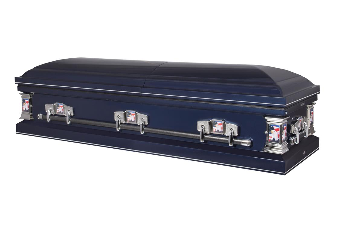 Photo of Titan Casket | Veteran Silver Casket with Light Blue Crepe Interior