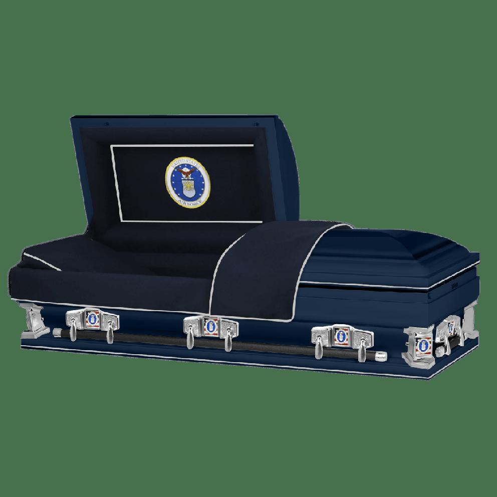 "Photo of Titan Veteran Select XL | AIR FORCE | Dark Blue Steel Casket with Dark Blue Interior | 28"", 29"", 33"", 36"""