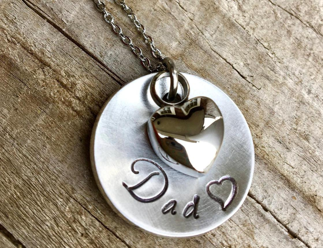 Photo of Dad Memorial Necklace - Simple Heart Urn Necklace