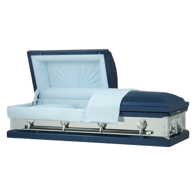 Photo of Titan Reflections Series | Dark Blue Steel Casket with Light Blue Interior