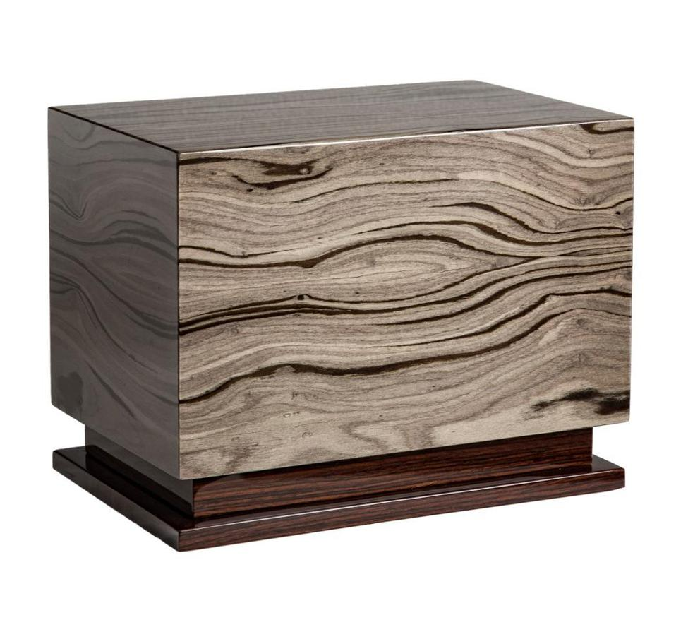 Photo of Modern Wood Urn; Large Urn for Ashes; Grey Lacquered Wood Urn; 260 Cubic Inches
