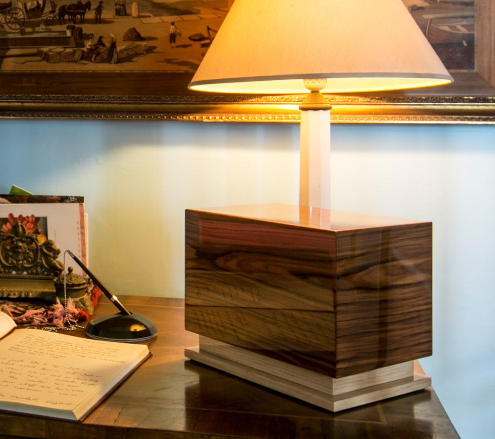 Photo of Modern Wood Urn; Large Urn for Ashes; Brown Lacquered Wood Urn; 260 Cubic Inches