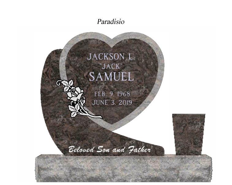 Photo of Rustic Hanging Heart Granite Monument