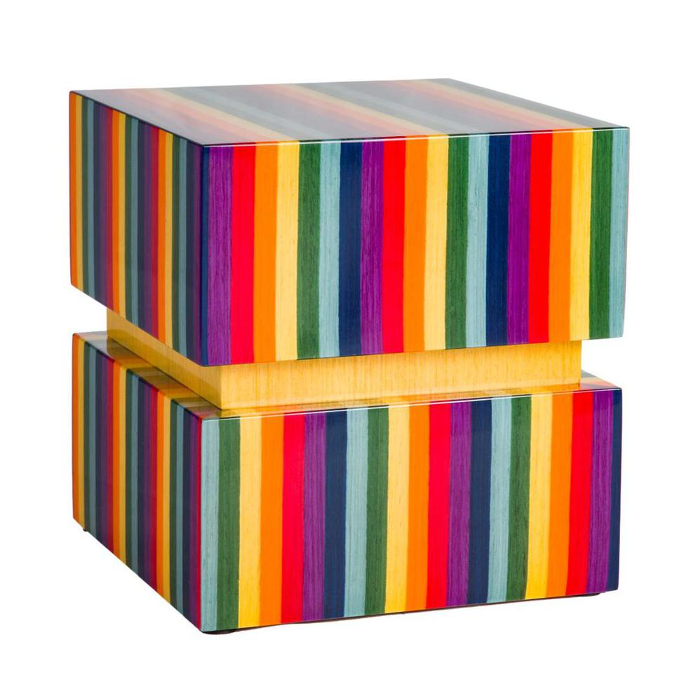 Photo of Modern Wood Urn; Large Urn for Ashes; Rainbow Lacquered Wood Urn; 220 Cubic Inches