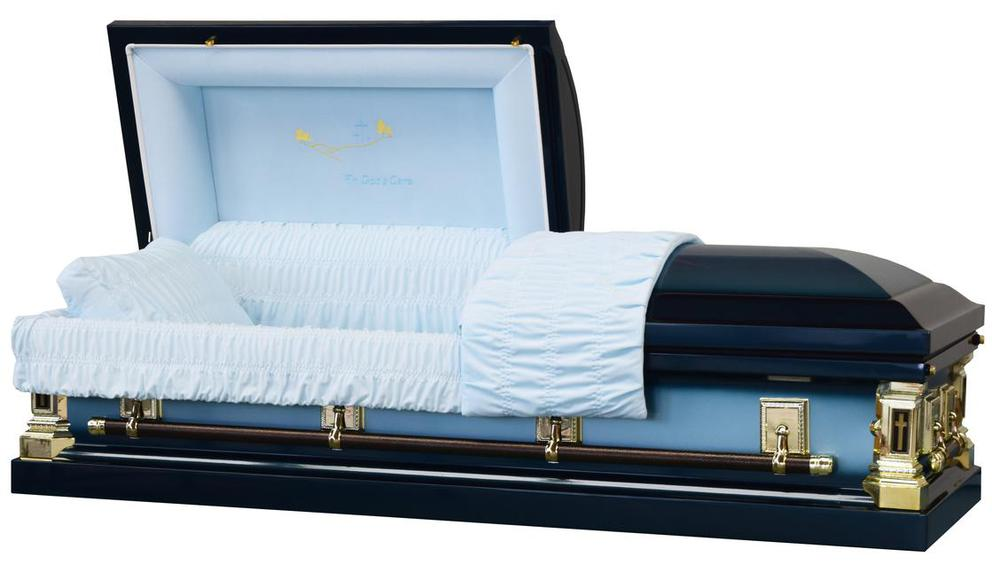 Photo of In God's Care Spruce Blue Casket with Blue Velvet Interior- Metal Casket