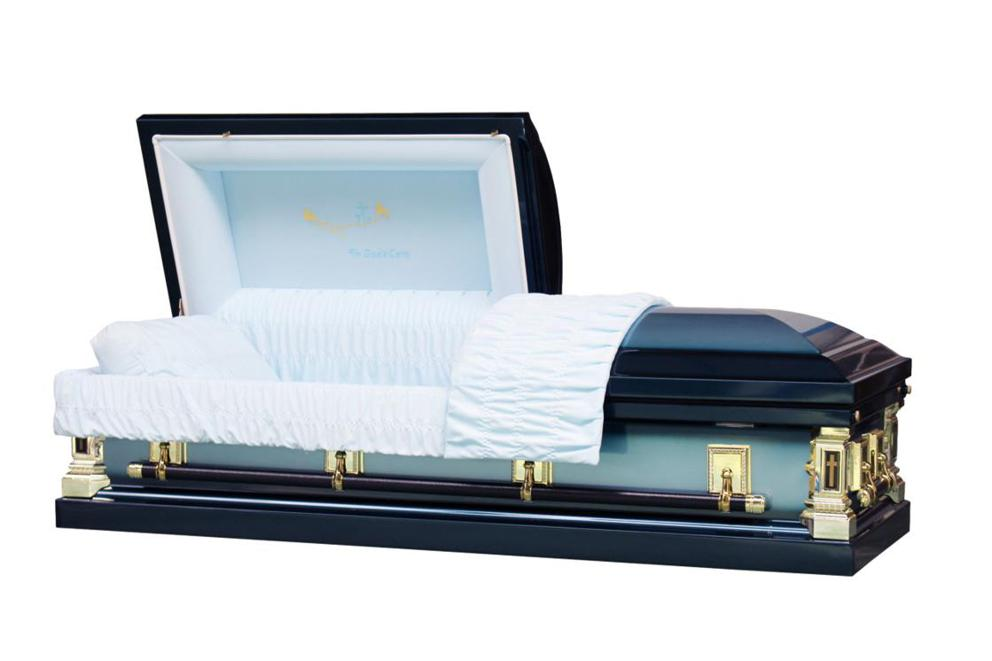 Photo of In God's Care - Metal casket in Blue Finish with Light Blue Interior