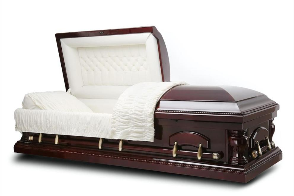 Photo of PEACE - Cherry Wood Casket with Ivory velvet interior