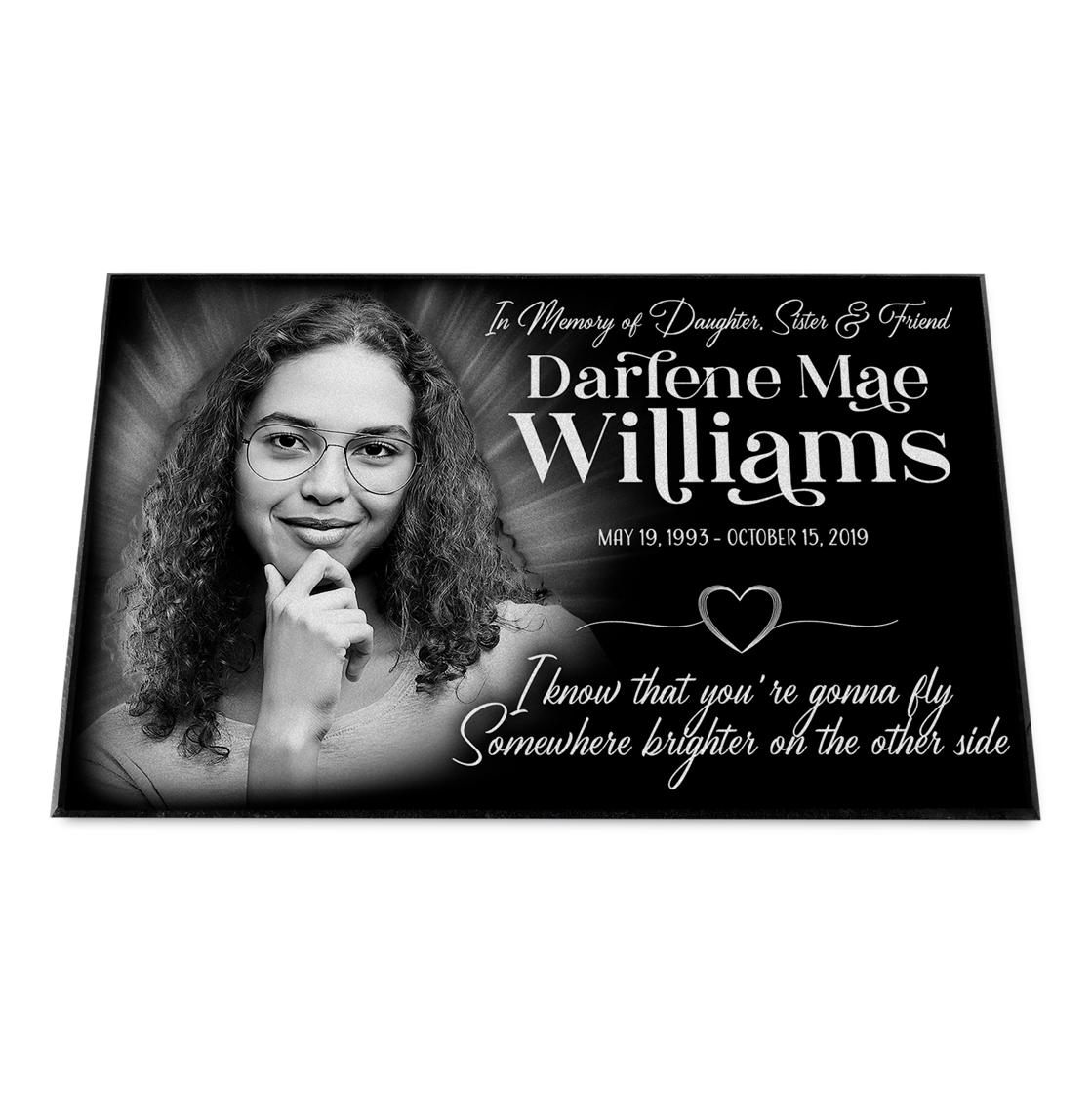 "Photo of 16x10x¾"" Grave Marker, Temporary or Permanent, Personalized"
