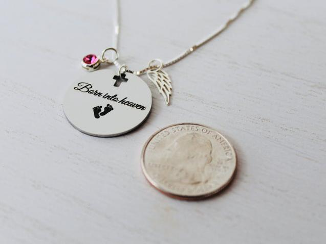 Photo of Born into Heaven Miscarraige Child Loss Angel Birthstone Necklace