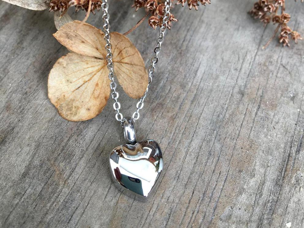 Photo of In Loving Memory -- Silver Heart Cremation Urn Necklace