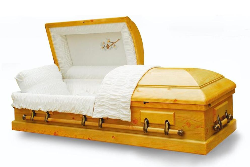 Photo of Old Cedar - Solid Pine Wood Casket with White Velvet Interior