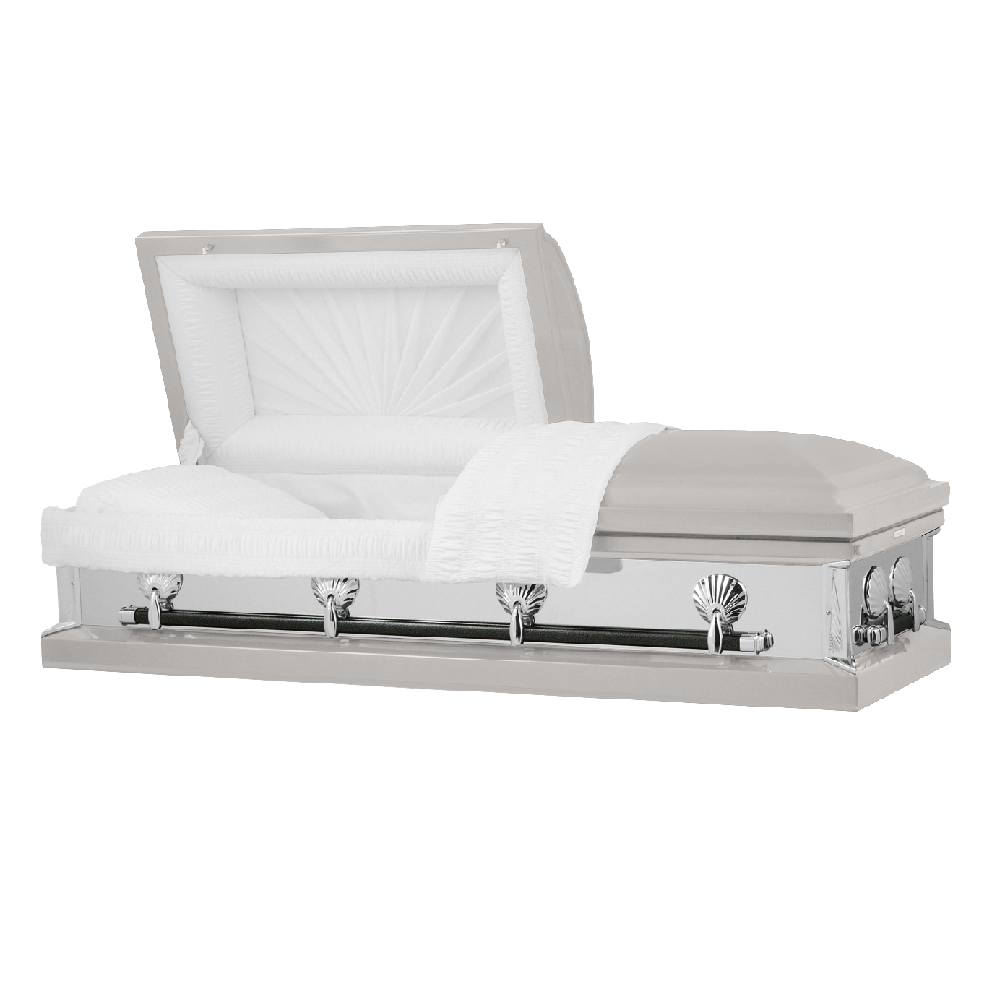 Photo of Titan Reflections Series | Silver Steel Casket with White Interior