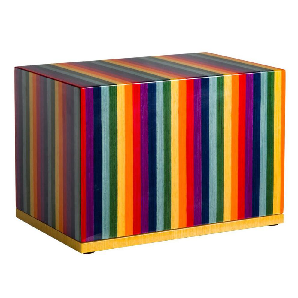 Photo of Modern Wood Urn (Small & Large); Urn for Ashes; Rainbow Lacquered Wood Urn