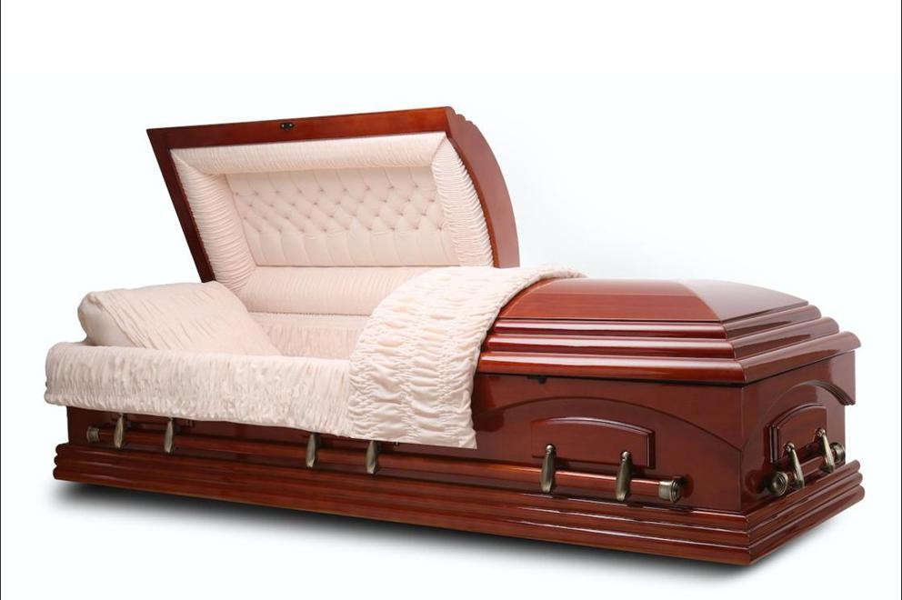 Photo of Nashville - Teak Wood Casket with Beige Velvet Interior