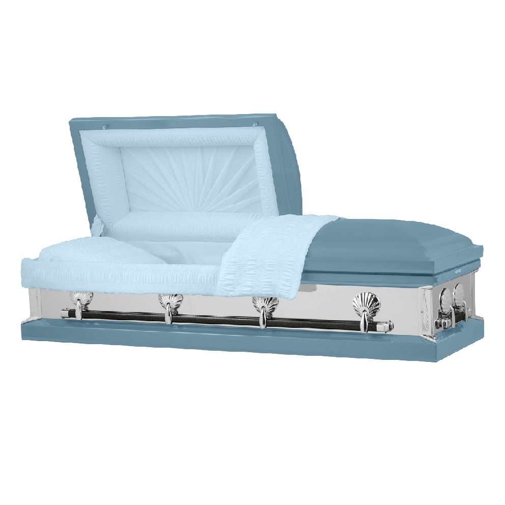 Photo of Titan Reflections Series | Light Blue Steel Casket with Light Blue Interior
