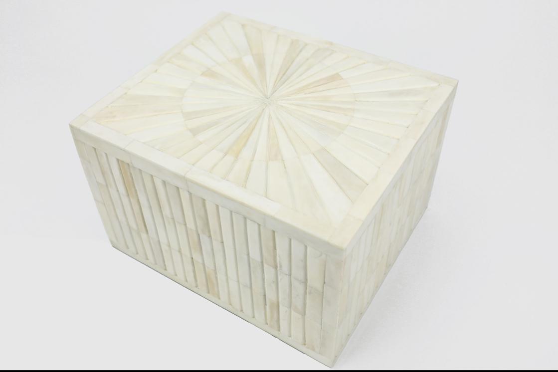 "Photo of ""Sunburst"" White Bone Inlay Cremation Urn"
