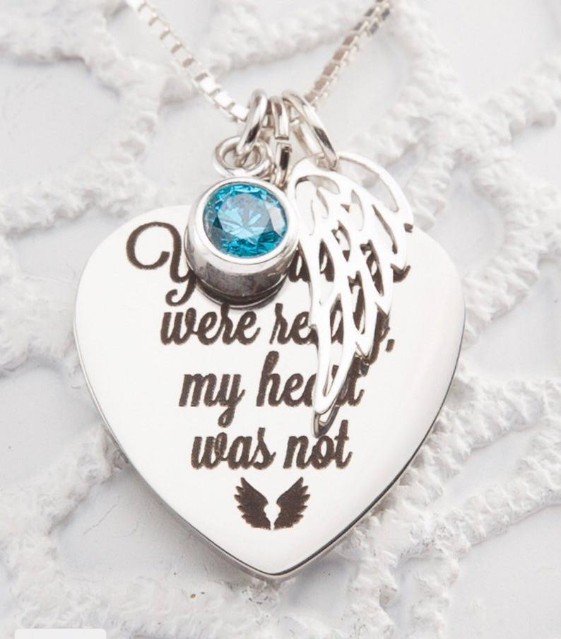 Photo of Your Wings Were Ready, My Heart Was Not Birthstone Necklace