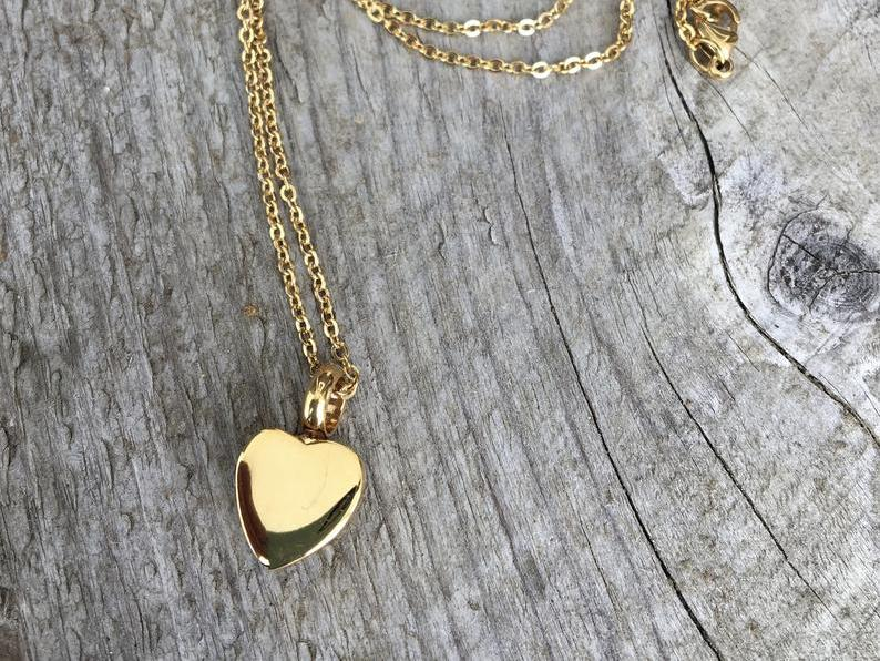Photo of In Loving Memory -- Gold Heart Cremation Urn Necklace