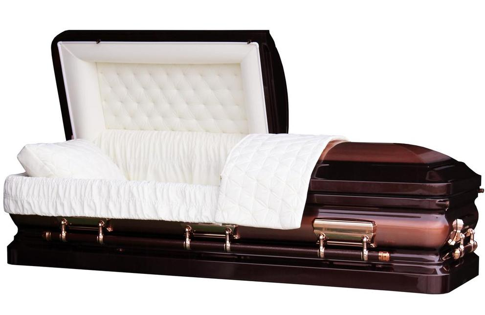 Photo of Full Brush Copper Casket with Ivory Velvet Interior - Metal Casket