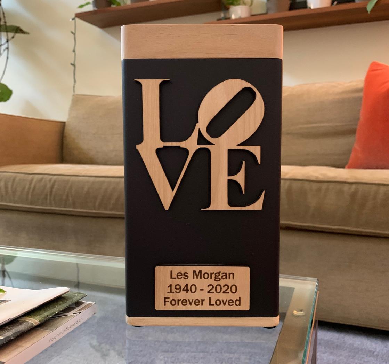 "Photo of Biography ""LOVE"" Modern Urn"