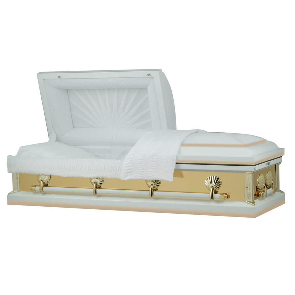 Photo of Titan Reflections Series | White and Gold Steel Casket with White Interior