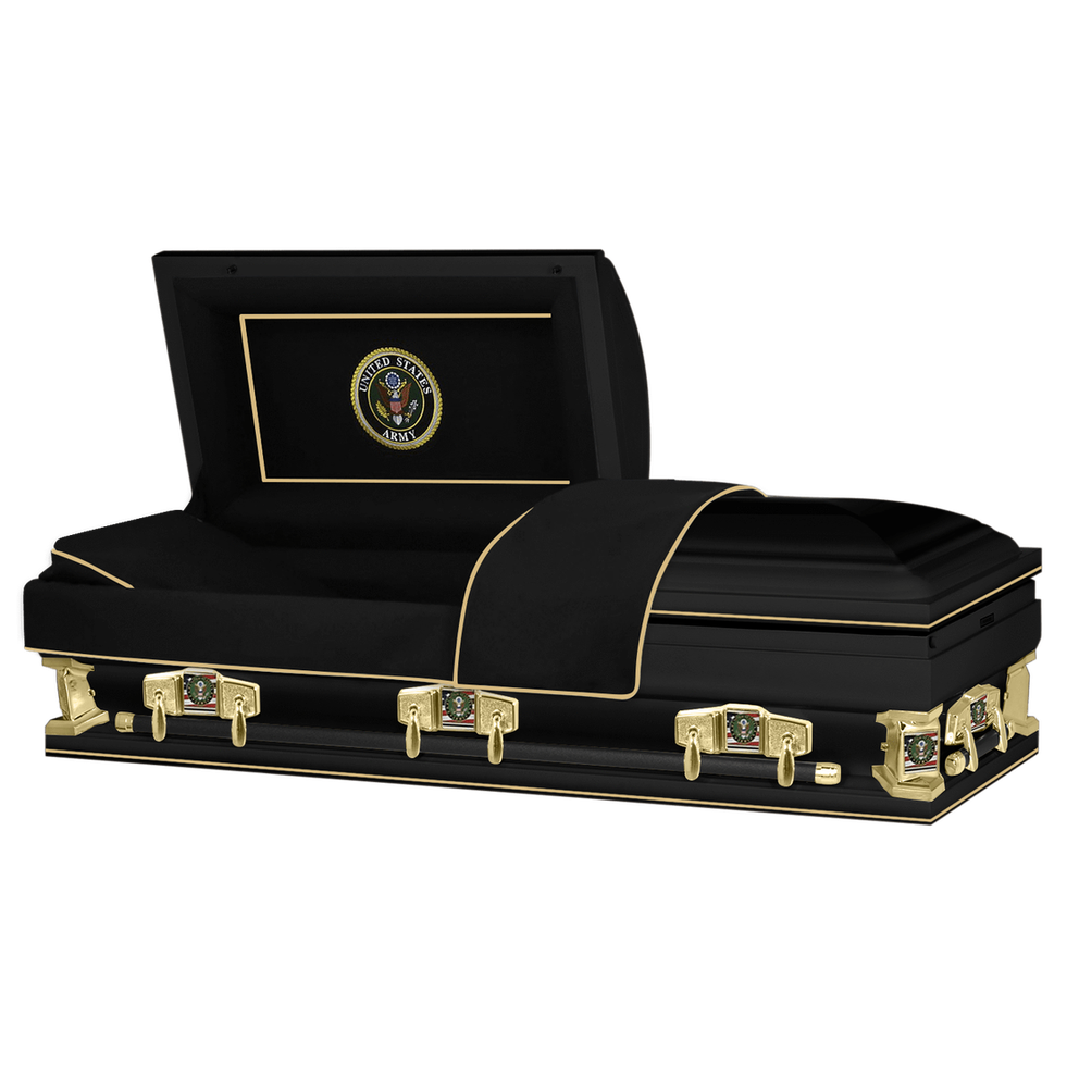 "Photo of Titan Veteran Select XL | ARMY | Black Steel Casket with Black Interior | 28"", 29"", 33"", 36"""