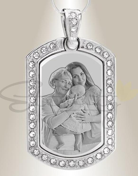 Photo of Photo Engraved Dog Tag With Gem Border