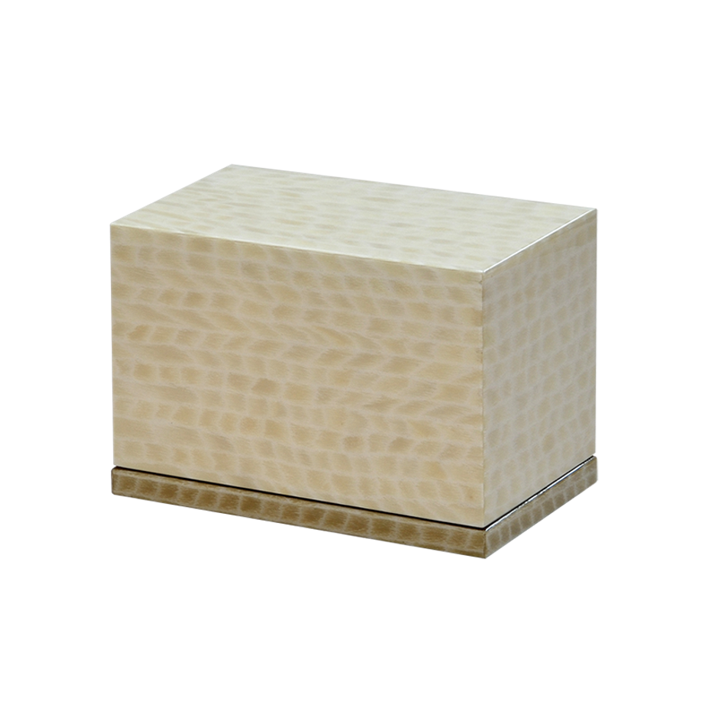 Photo of Modern Wood Urn (Small & Large); Urn for Ashes; Cream Lacquered Wood Urn