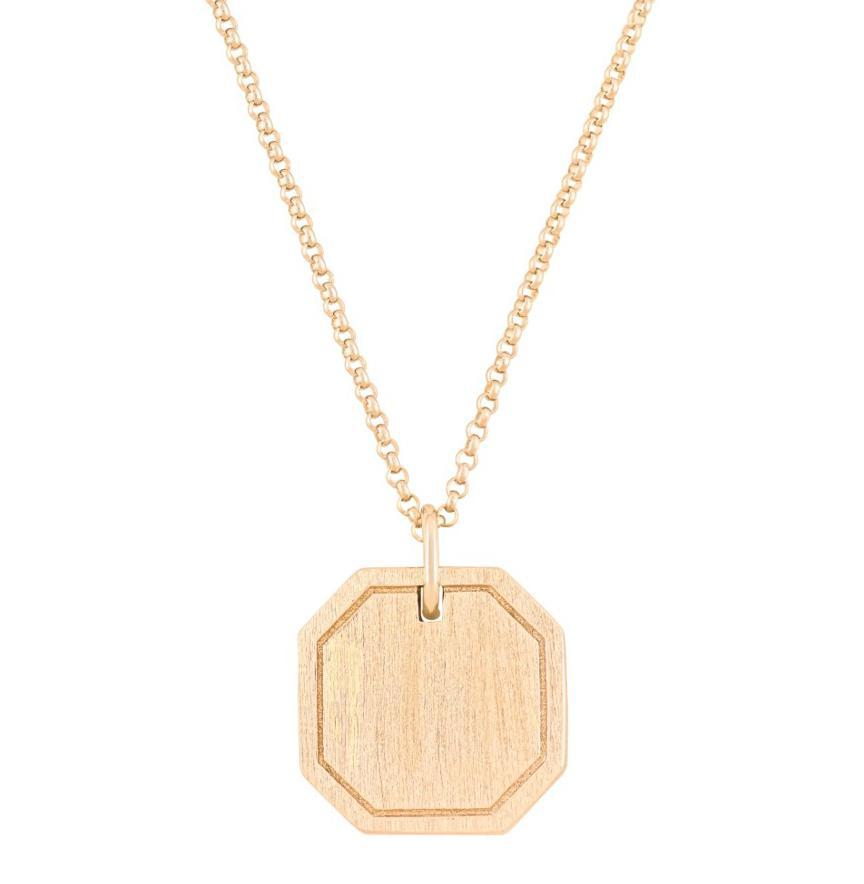 Photo of Octagon Cremation Necklace - 18K Gold Plated / Made of Sterling Silver