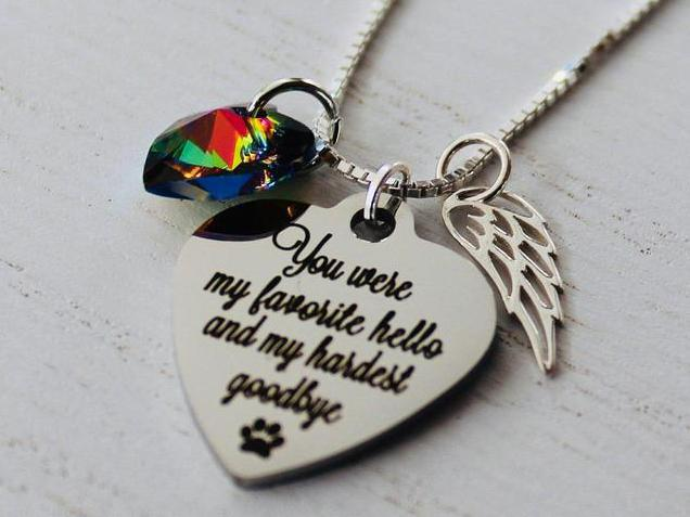 Photo of Rainbow Bridge Pet Loss Necklace Favorite Hello