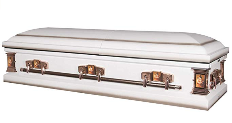Photo of Titan Paris Rose | White Steel Casket with Floral Motif