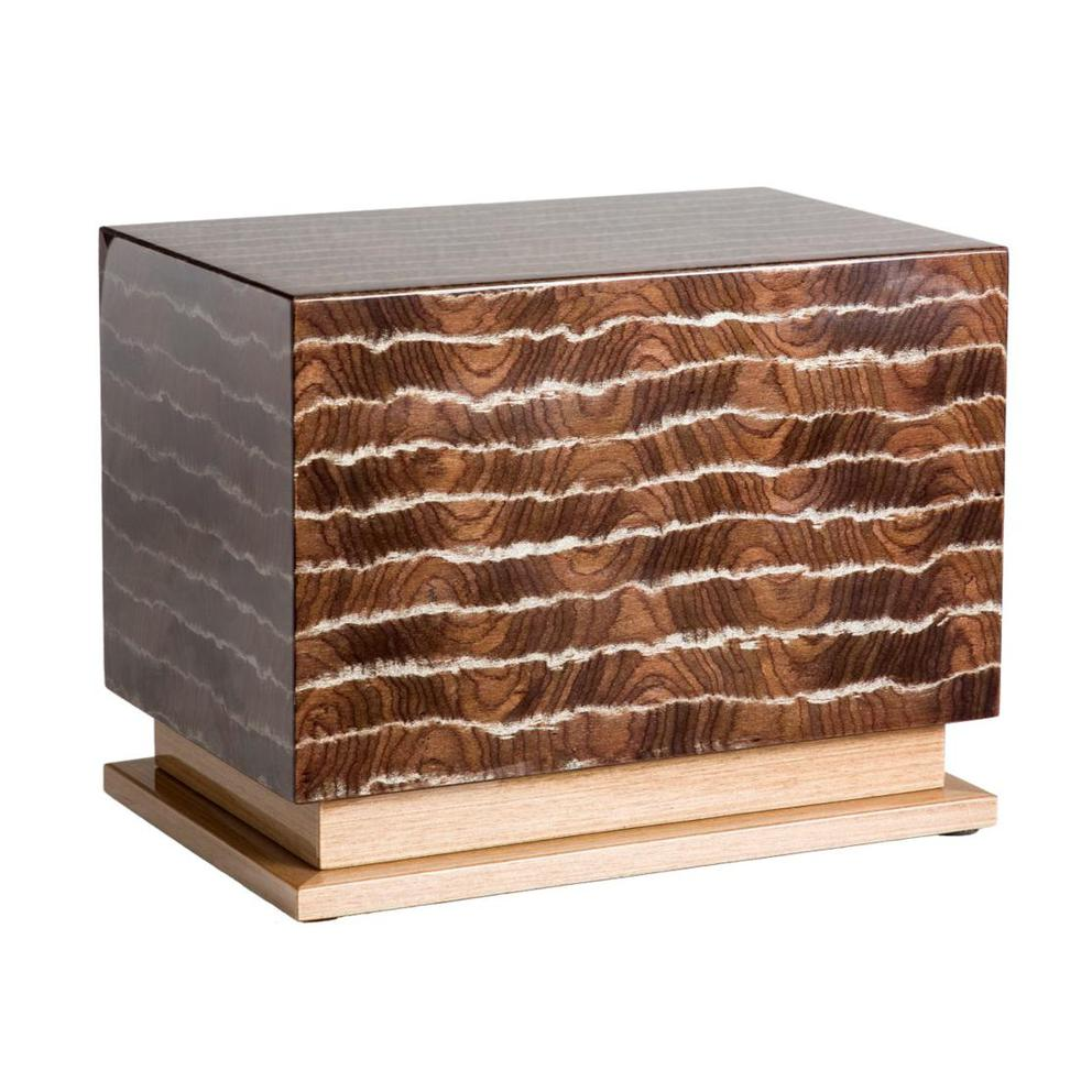 Photo of Modern Wood Urn; Large Urn for Ashes; Striped Brown Lacquered Wood Urn; 260 Cubic Inches