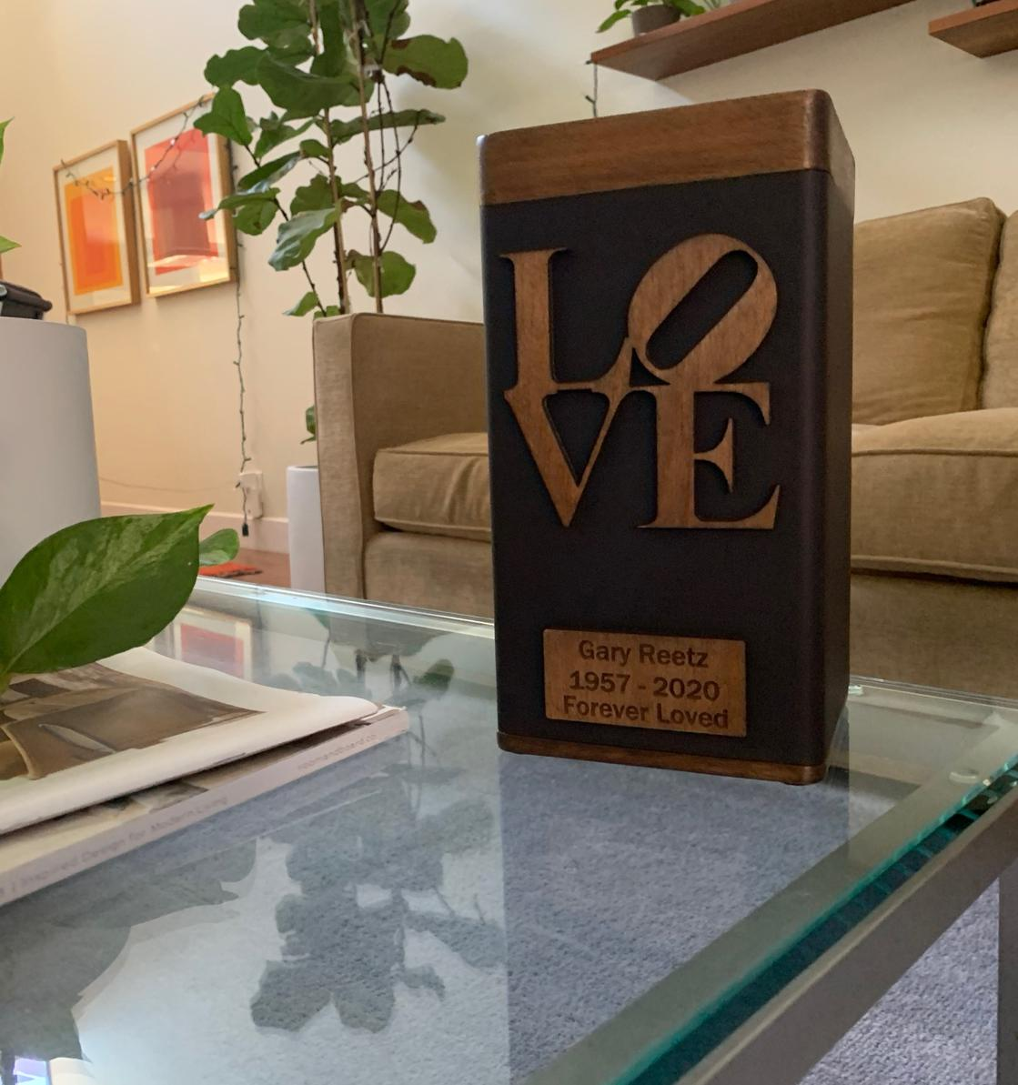 "Photo of Biography ""LOVE"" Modern Urn, Walnut & Dark Bronze Finish"
