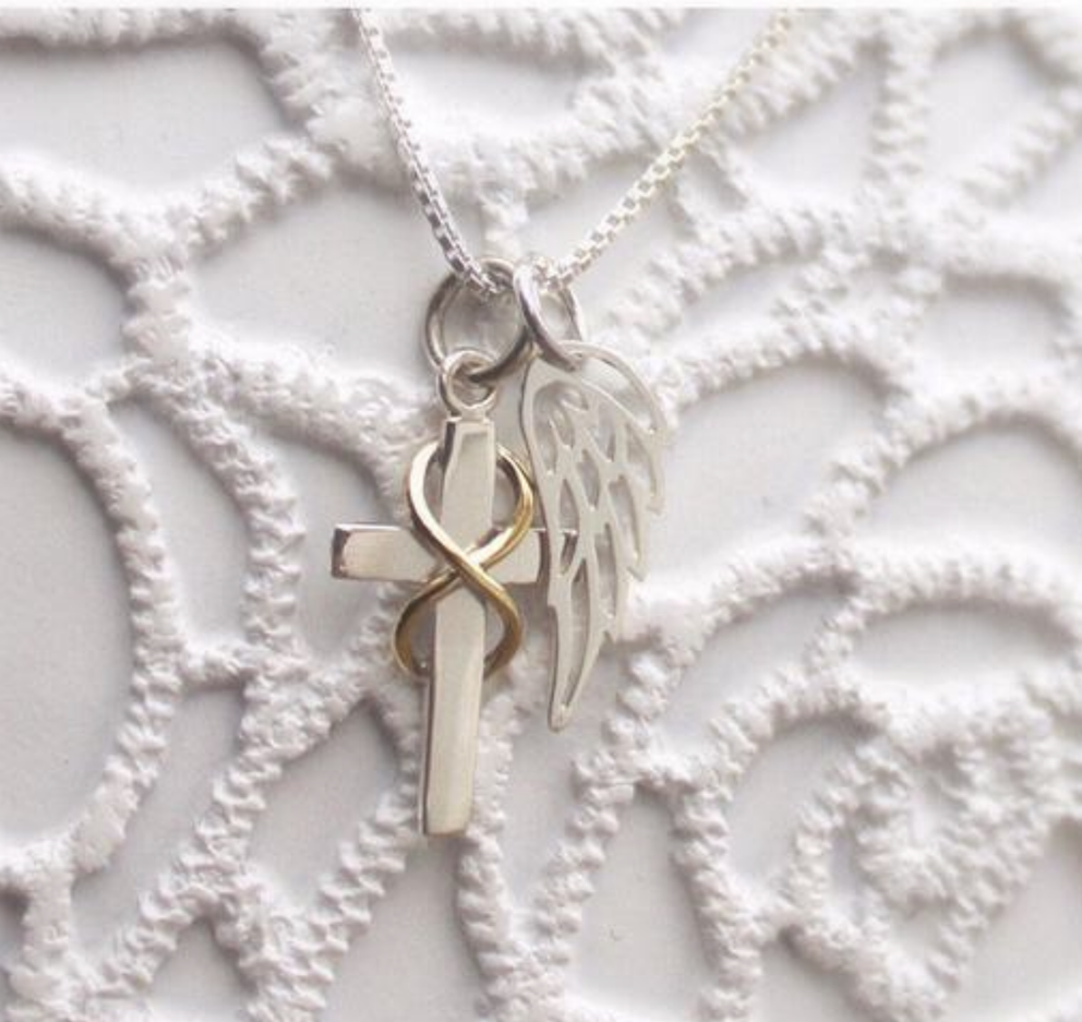 Photo of Infinity Cross Angel Necklace