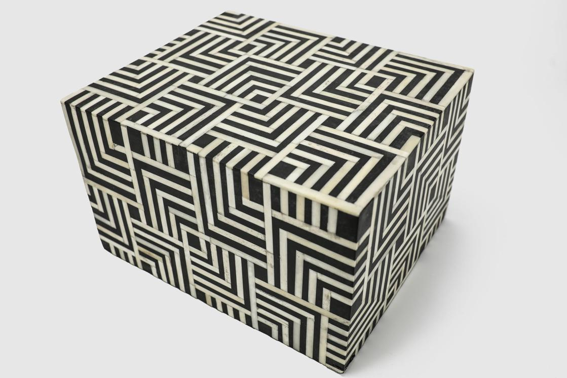 "Photo of ""Geometric"" Black and White Bone Inlay Cremation Urn"