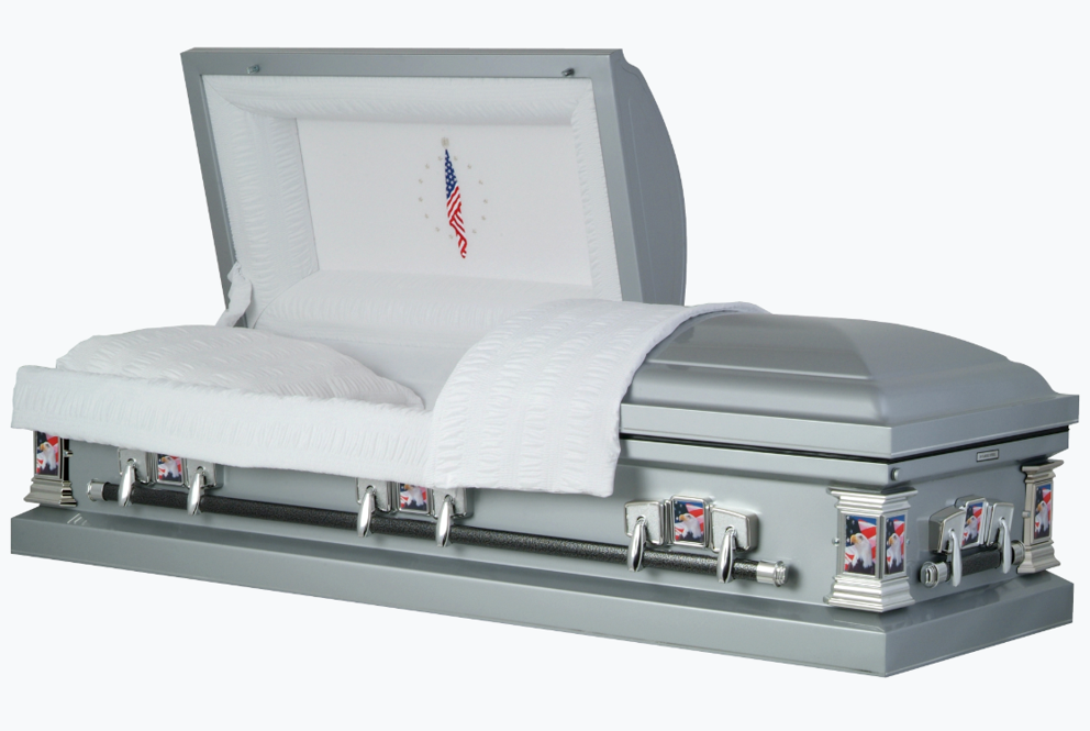 Photo of Titan Casket | Veteran Silver Casket with White Crepe Interior