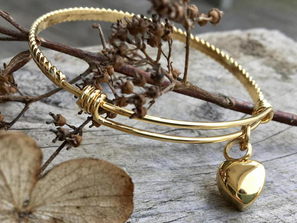 Photo of Cremation Urn Memorial Bangle in Gold